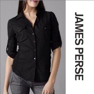 James Peres Standard Classic Black Button Up sz 3